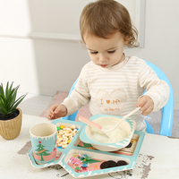 Bamboo Fiber Tableware For Children Dishes Set 5pcs Set Plate Bowl Cup Fork Spoon Tableware Baby