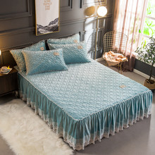 Russian size 160X200cm Plush Warm Bedskirt Bed set Flannel Fleece Quilted Ruffled Lace Girls with Small White Ball Bed cover set(China)