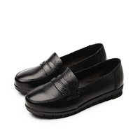 Genuine Leather Shoes Women Flats Slip On Shoes For Women Black Loafers Moccasin Spring Fall Pointed Toe Flats Ladies Footwear