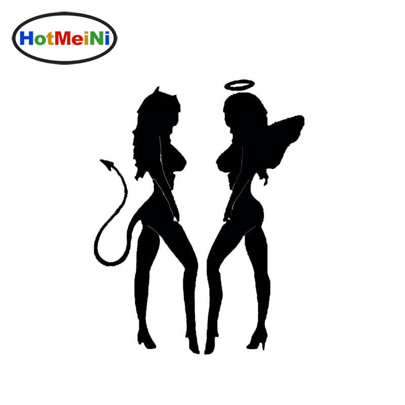 Wholesale HotMeiNi Angel Devil <font><b>Sexy</b></font> Girls Funny <font><b>Car</b></font> Sticker Styling for Bumper Laptop Kayak Decal Home <font><b>Car</b></font> Decor 15*11.5 cm image