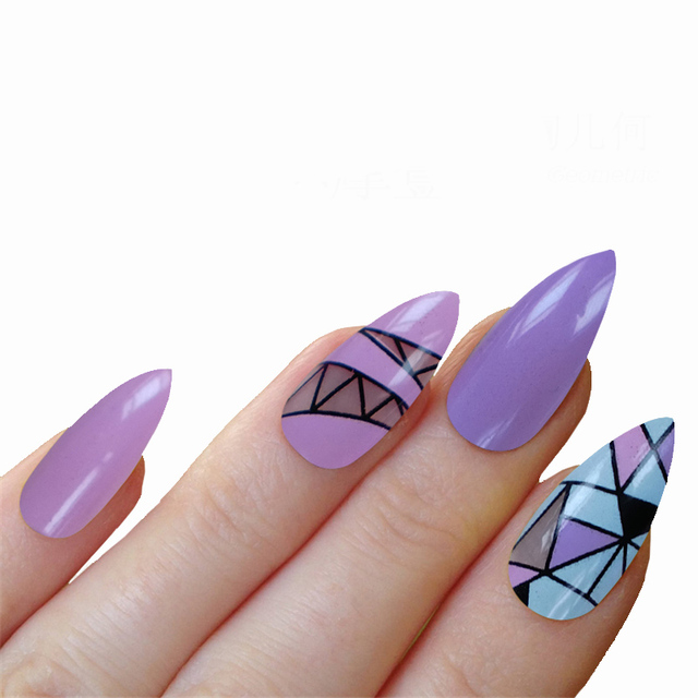 12 Designs False Nails With Glue Stiletto Nails Tips Fashion Style 24pcs/ Pack Long French Nail Art Tips Acrylic Full Shining
