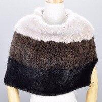 Pashmina Knitted Scarves Natural Fur Shawl Genuine Fur wraps Women Pashmina ladies mink fur shawls for women wraps Fur Shaw