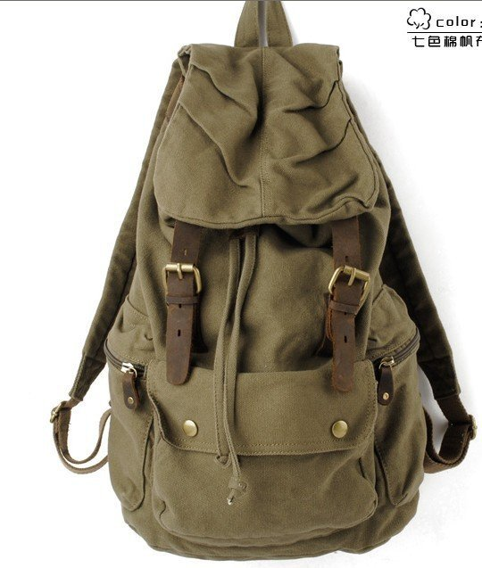 Green Retro Canvas Rucksack Backpack Bag Army Gym Work