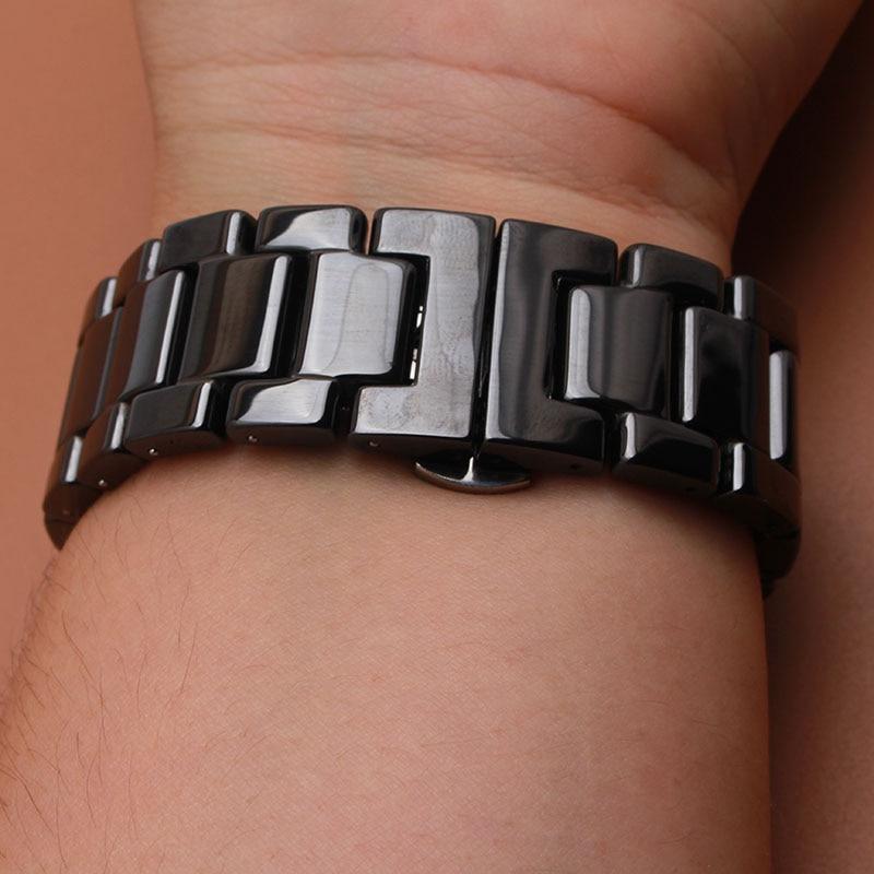 Ceramic Watch Band Strap solid Link Bracelet Butterfly Buckle wristwatchband 14 16 18 19 20 22mm polished black watchbands new
