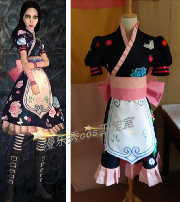 2016 Alice Madness Returns Cosplay Dress Alice Madness Returns Cosplay Costume alice madness returns heroine alice cosplay costume black white striped customized anime uniform