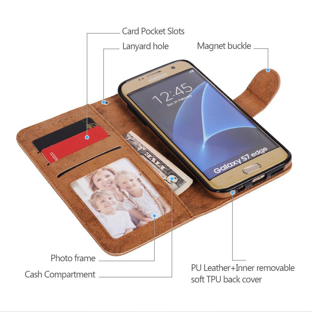 För Samsung Galaxy S8 Väska Flip Wallet 2 i 1 Avtagbar Retro Slim - Reservdelar och tillbehör för mobiltelefoner - Foto 2
