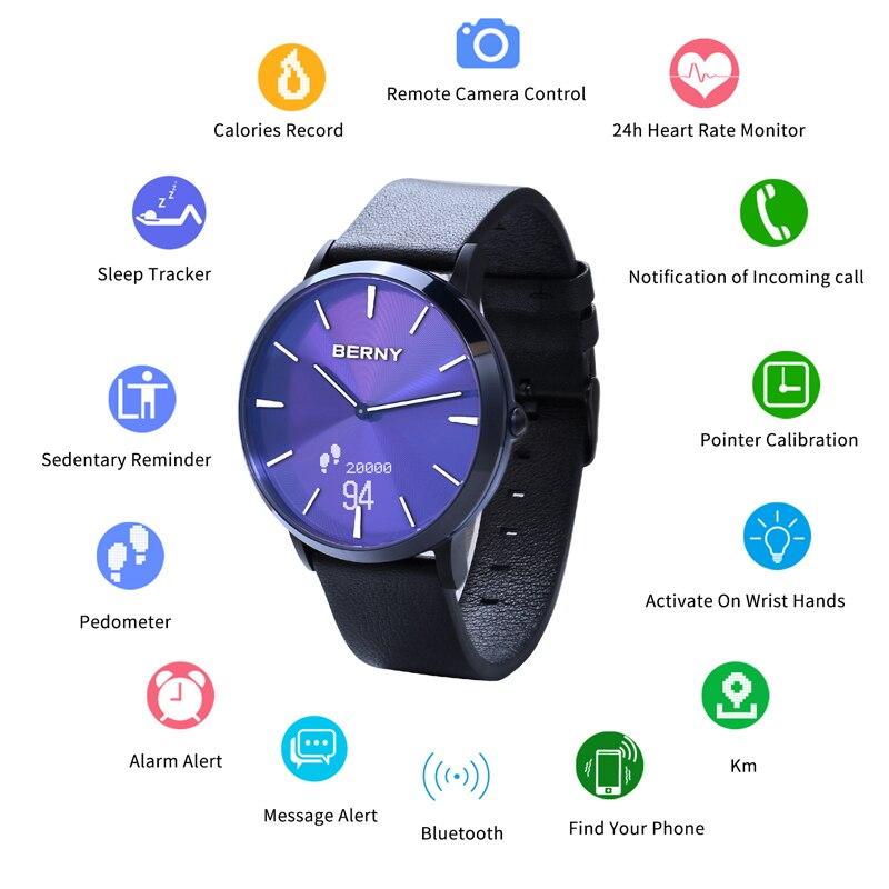 BERNY Bluetooh Lembrete Sedentário Smartwatch Pedômetro Heart Rate monitor de Sono Homens relogio inteligente Esporte Smartwatch