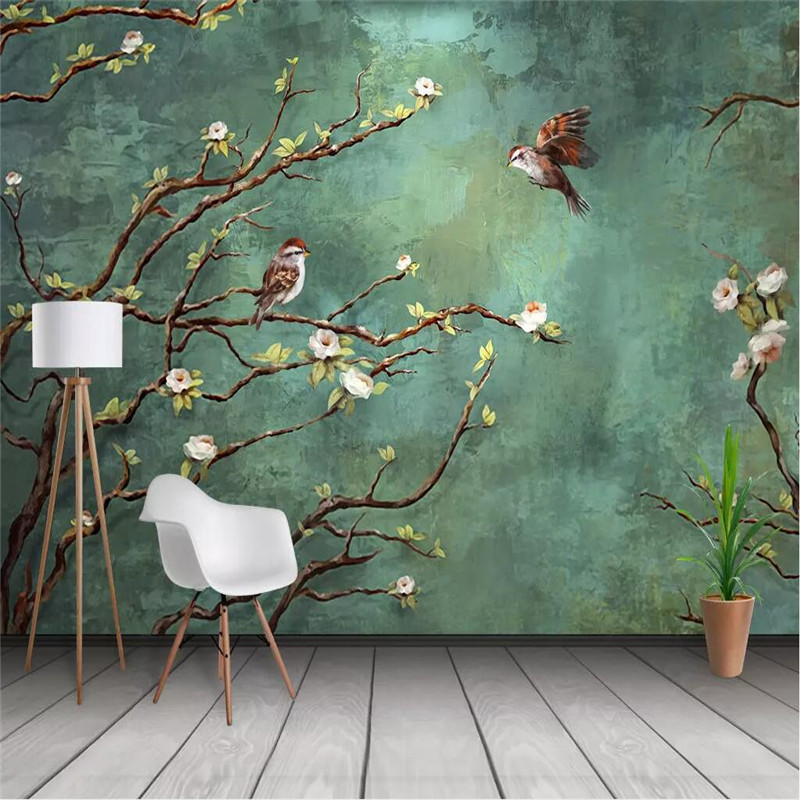 Seamless Wallpaper Hand-painted Oil Painting Flowers And Birds Professional Production Mural Factory Wholesale Wallpaper Mural