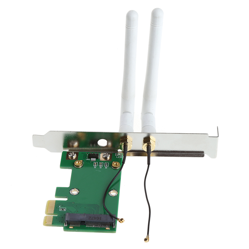 Wireless Wifi Post Card Mini PCI-E To PCI-E 1X Desktop Adapter + 2 Antennas Expansion Adapter Boards For Computer Chassis