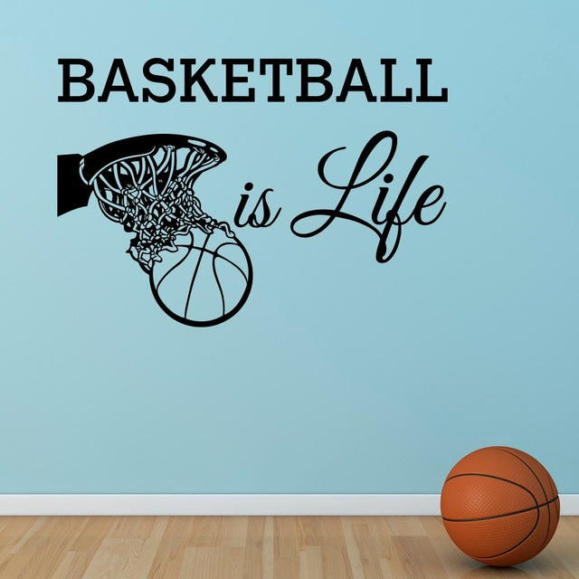 Basketball Is Life Wall Decal Basketball Hoop Wall Sports Vinyl Stickers Nursery Kids Teens Boys Room Art Home Decor
