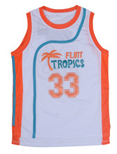 Retro Basketball Movie Jersey Cool Shirt Jackie Moon Flint Tropical Throwback Jerseys Stitched Jersey Man White Green #33 #7 #11