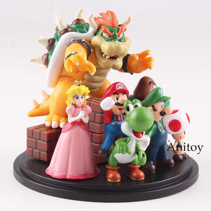 Super Mario Bros Wii Super Mario World Toys Bowser Princess Peach Yoshi  Luigi Toad Goomba Action Figure 3~10cm