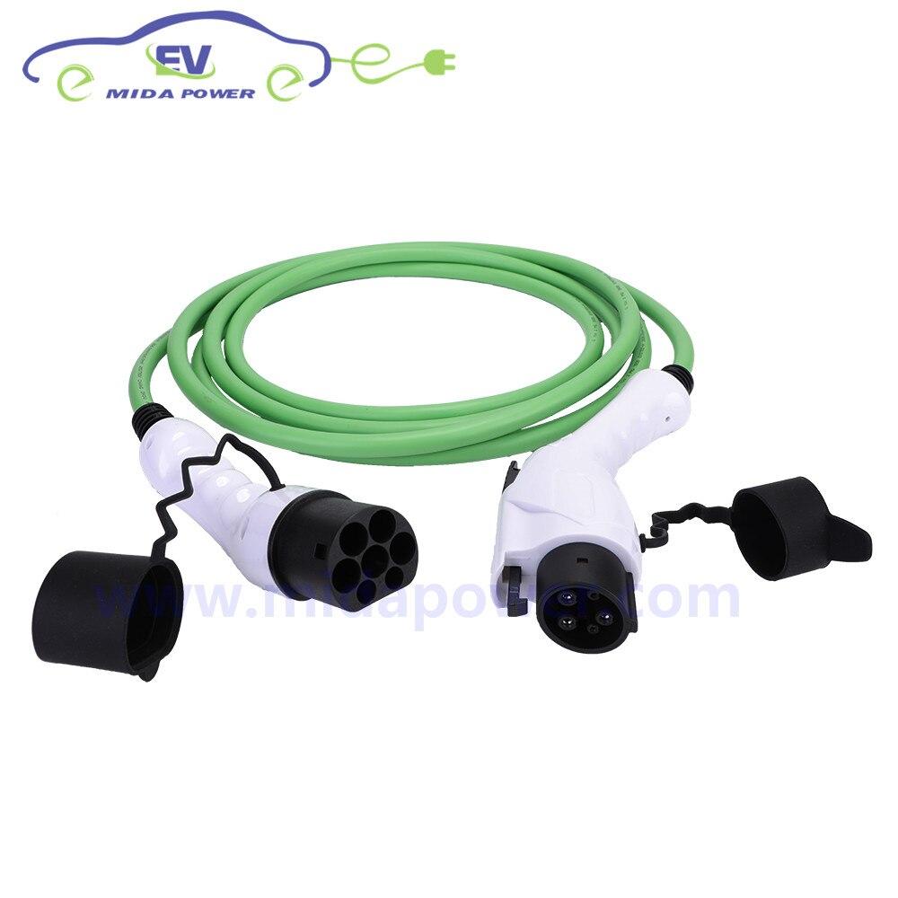 Carregador de carro Medidor de 5 16A J1772 Tipo Pistola 1 para IEC 62196 Tipo 2 Plugue EV EV Cabo de Carregamento Rápido cabo de carregamento