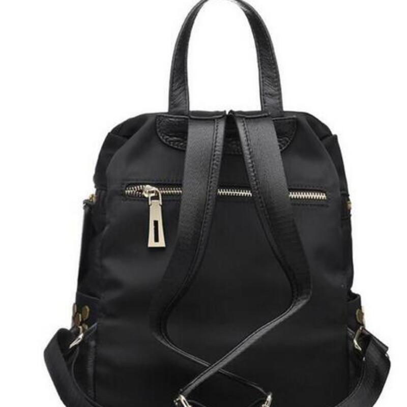 genuine leather women backpack large capacity womens laptop bags zipper style women travel bag metal nail ladies daily bag