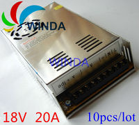 360W switching power supply output DC 18V 20A built in cooling DC fan security full range DC transformer 110V 220V 10pcs