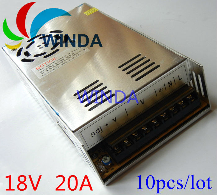 360W switching power supply output DC 18V 20A built-in cooling DC fan security full range DC transformer 110V 220V 10pcs