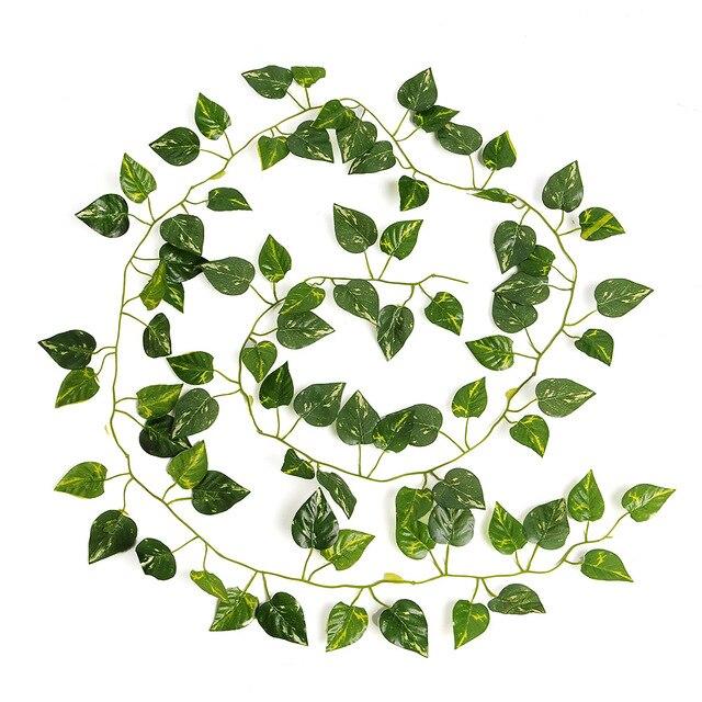 2017 Nuevo encantador Natural hiedra Artificial de hojas Garland follaje de 2 M de largo a casa decoración fiesta decoración de la boda