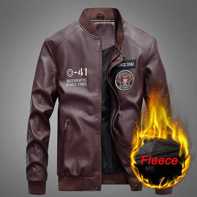 Новая осенне-зимняя мотоциклетная кожаная куртка, Мужская ветровка с капюшоном, Куртки из искусственной кожи, мужская верхняя одежда, теплые бейсбольные куртки из искусственной кожи, размер S-4XL