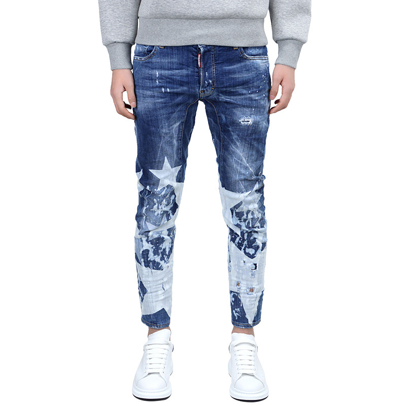 new The Stars Paris Catwalk Shows Stretch Gray Men Jeans Washed Retro Slim Biker Jeans Balmai Jeans Men Skinny Jeans Mens 28-36 nwt bp men s stylish fashion stretch slim cargo washed biker green jeans size 28 40 933