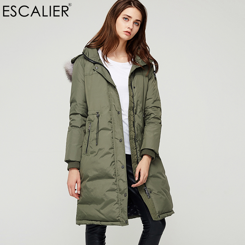 Escalier Real Fox Fur Collar Women   Down     Coats   2017 Solid Color Zipper and Button Thick Duck   Down   Winter   Coat