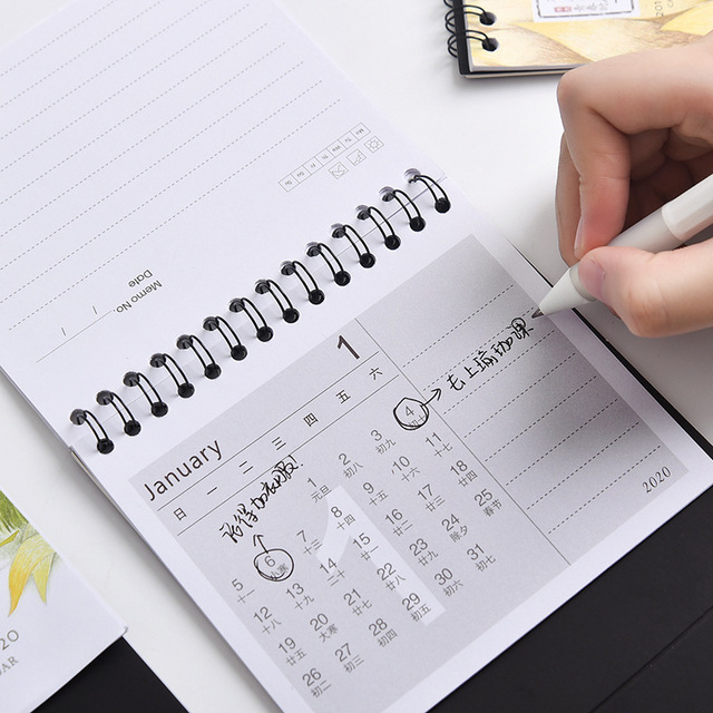 2020 Year of the Rat Calendar Cute Cartoon Unicorn Memo DIY Notepad Desktop Planner Calendar 1