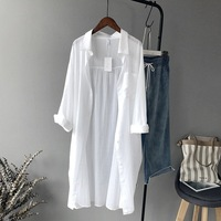 DERUILADY Spring Summer Blouse Long Sleeve Shirt Casual Loose Striped Womens Tops And Blouses Off White