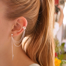 Mossovy Silver Tassel Earrings for Women Ear Cuff Jewelry Gold Clips Earrings Cuffs Oorbellen Pendientes Aretes De Mujer Brincos 2019 real time limited aretes tassel earrings oorbellen european and american christmas jewelry lovely for apple long ear
