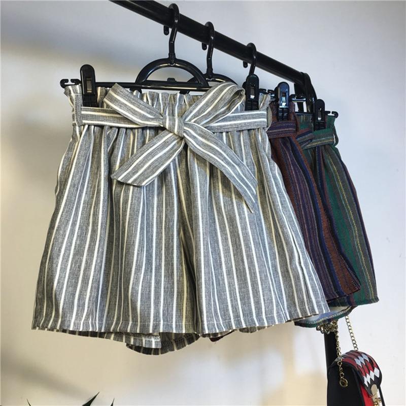 New Summer Loose High Waist Striped   Shorts   Women Vintage Bow Sashes Wide Leg   shorts   All Match Elatics Thin   Shorts   Female Mw316