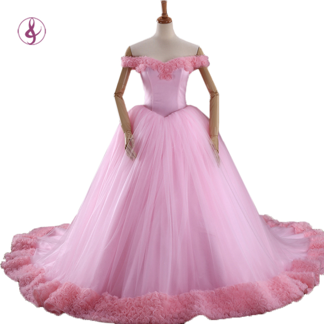 9344a3314a8 RSM 66266 2016 Puffy Quinceanera Dresses Pink Princess Cinderella Formal  Long Ball Gown Party Gowns 3D Flowers Real Photos