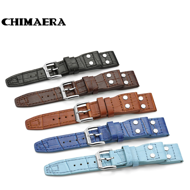 Black Brown Blue Croco Grain 22mm Italian Genuine Leather Rivet Watch Band Strap Belt With Pin buckle For IWC Big Pilot stylish pin buckle rivet perforated wavy edge light coffee belt for women