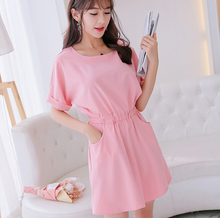 Summer dress clothing cute short sleeve dress Korean solid Elastic waist pink shy blue light green dress fashion bodycon dress(China)