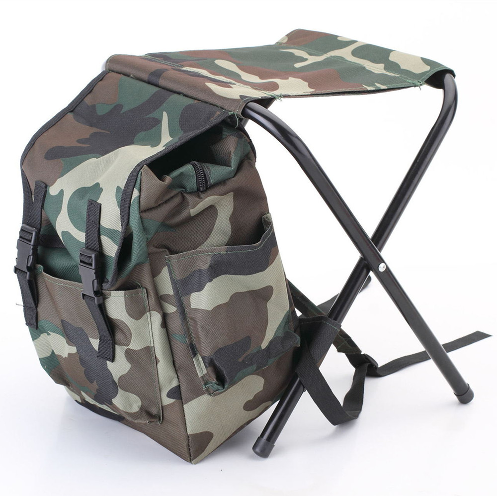 2018 Newest Camouflage Fishing Backpack wear-resistant Foldable Portable Climbing Outdoor Fishing Bag with Chair wholesale camouflage outdoor fishing chairs bag foldable 600d oxford peva waterproof layer cool fishing bag multifunctional sport backpack