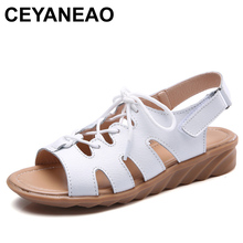 43d765901 CEYANEAO Women Gladiator Sandals Shoes Genuine Leather Lace Up Flat Heels  Sandals Ladies Casual Summer Shoes
