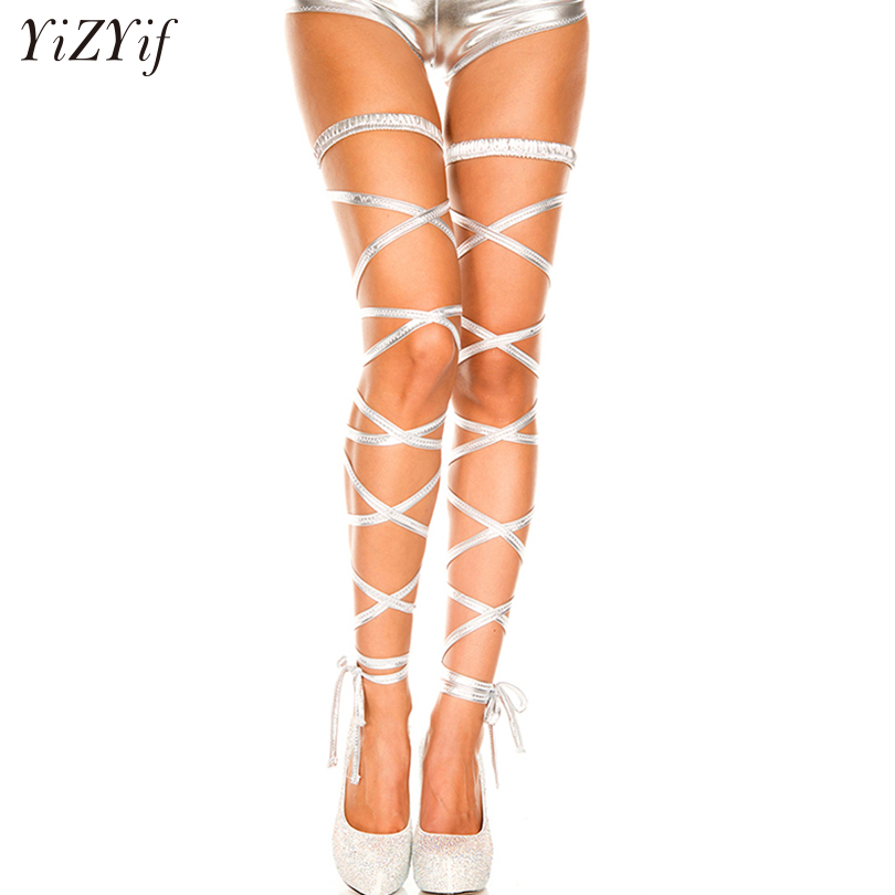 be909b927ce YiZYiF Women Sexy Patent Leather Elastic Gothic Leg Harness Wraps garter  belt Girls lingerie Halloween Costumes Party Stockings