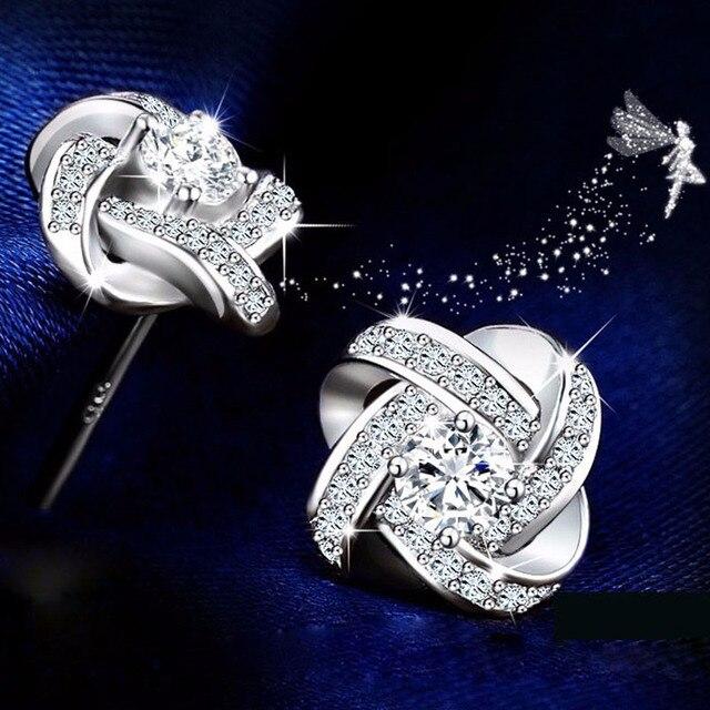 925 Sterling Silver Cubic Zirconia Twist of Fate Flower Stud Earing