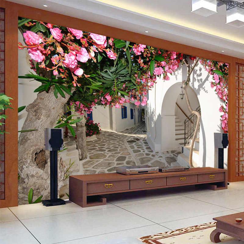 Foto Carta Da Parati Mediterraneo Street Città Paesaggio della Città di 3D Murale Panno Parete Soggiorno TV A Tema Hotel Sfondo Rivestimenti Murali