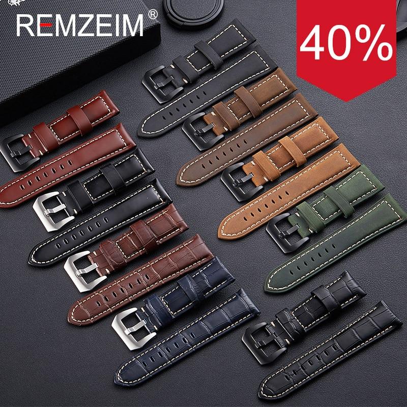 REMZEIM Genuine Leather Watchbands Bracelet Black Blue Green Brown Watch Strap For Women Men 20mm 22mm 24mm 26mm Wrist Band