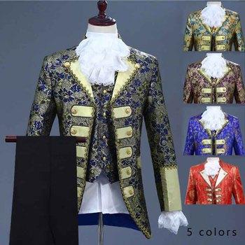 4 pieza traje Deluxe victoriano Medieval disfraz de Príncipe para hombres Vintage Blazer traje hombre Cosplay traje chaqueta + chaleco + Pantalones + corbata