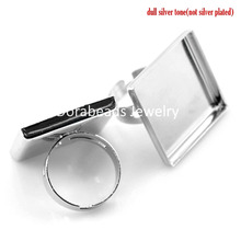DoreenBeads 10PCs Silver Tone Adjustable Square Cabochon Setting Ring Blank Findings 18.7mm(US 8),(Fit 25x25mm) (B21493), yiwu