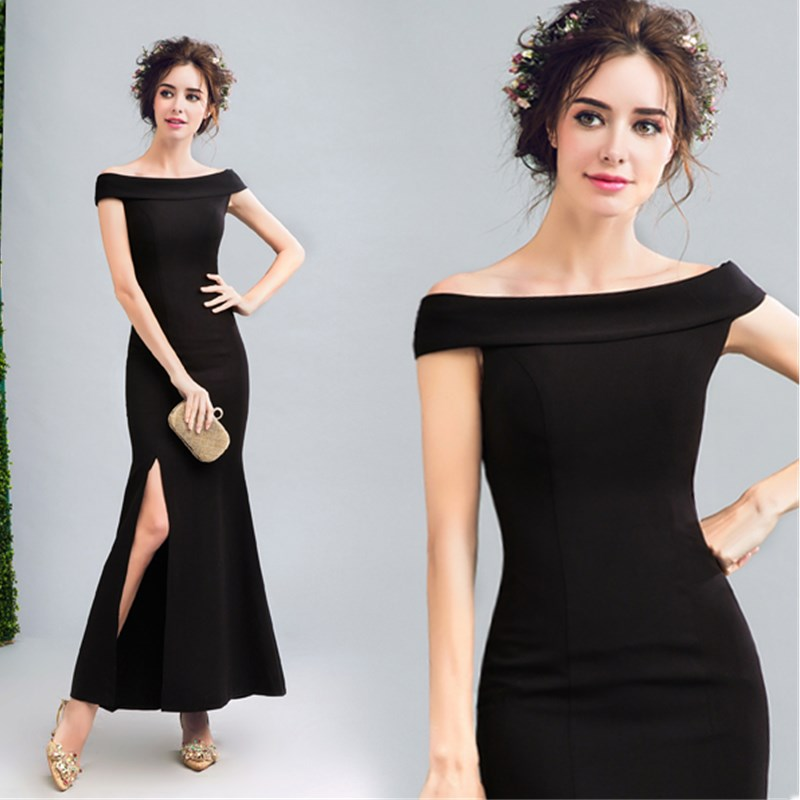 100% True Ruthshen Black Evening Dresses Long 2018 New Slit Side Sexy Ladies Formal Prom Dress Cheap Special Occasion Gowns Weddings & Events