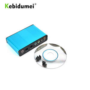 kebidumei Blue 6 Channel External Sound Card 5.1 Surround Sound USB 2.0 External Optical Audio Sound Card Adapter for PC Laptop