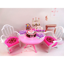 New Arrival Miniature Furniture Dining Table for Barbie Doll House Classic Toys for Girl Free Shipping