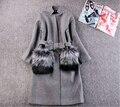 Женщины Зимние Пальто И Куртки 2016 Осень Зима Новый Серый Шерстяное Пальто Меховой Pocekt Лонг Куртка Теплая Верхняя Одежда casaco feminino