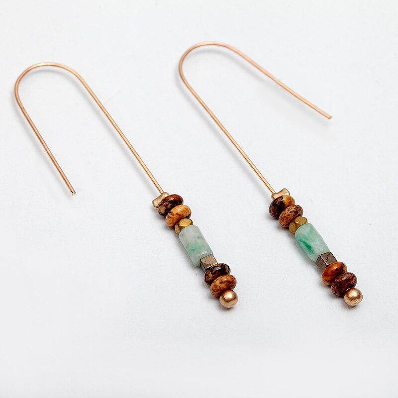 Stone Bead Pendant Dangle Earrings Vintage Gold 1