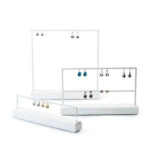 Image 5 - FANXI תצוגת תכשיטי מדף לבן מתכת עגילי שרשרת תצוגת תכשיטי בעל ארגונית Expositor תכשיטי תצוגת Stand