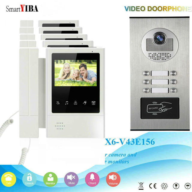 Smartyiba Touch Keypad Rfid Intercom Entry System For 5 Apartment Video Door Security Kits