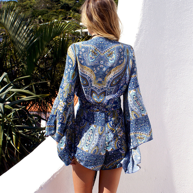 summer style flare sleeve women short jumpsuit playsuits tassel rompers women jumpsuit blue floral pattern loose lady clothes