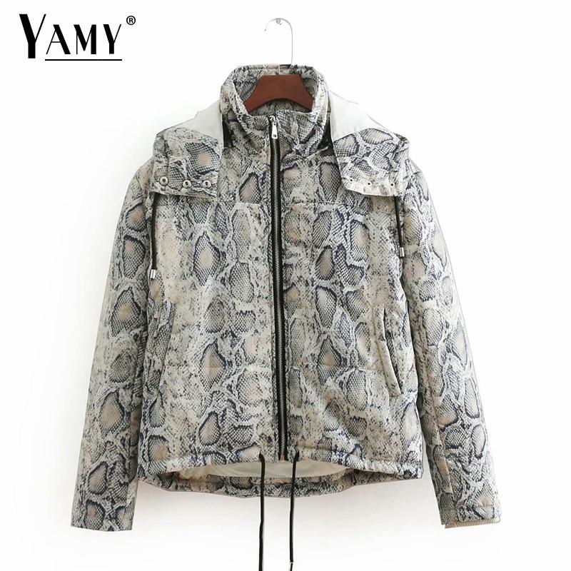 Animal snake skin print Winter jacket women padded coat   parkas   jaqueta feminina Korean women chaqueta mujer