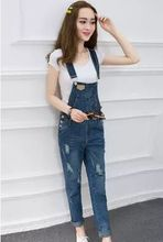 Size XS/XL Spring Denim Jumpsuit Women's Overalls Pants/Ladies' Jeans Holes Gallus Rompers/Female Suspender Pant with Pocket