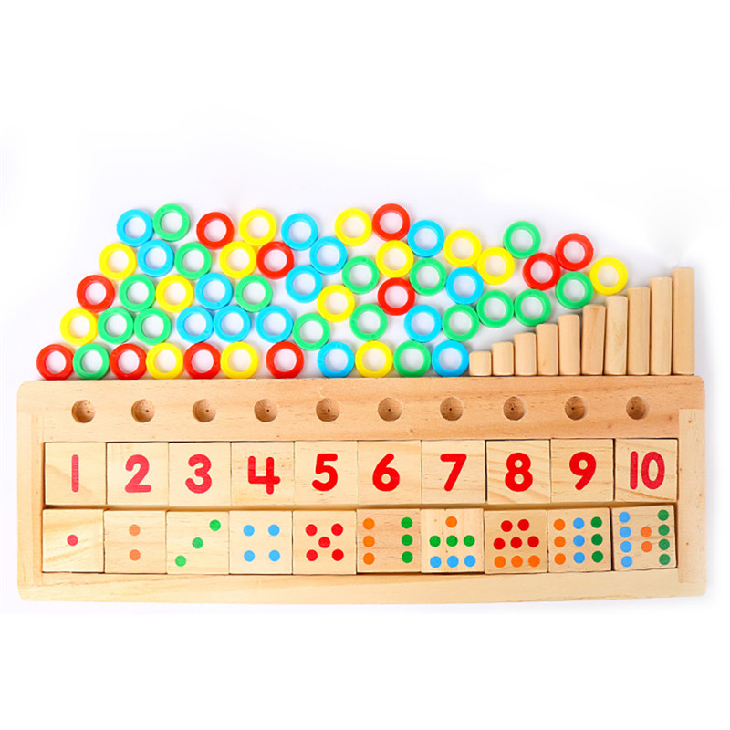 2017 Colourful Puzzle Teaching Tool Math Number Wood Board